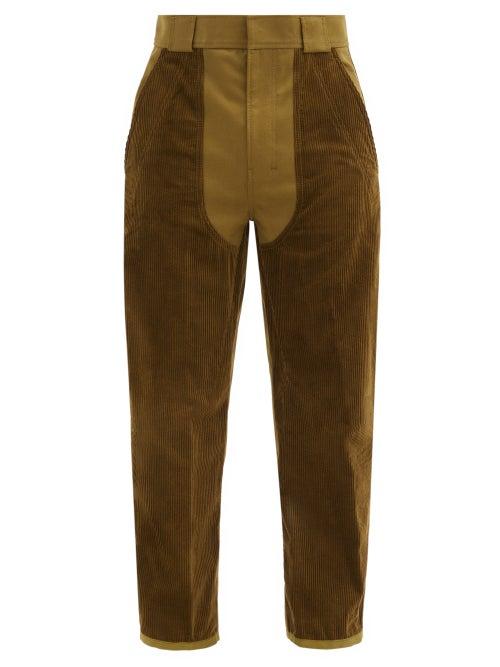 Haider Ackermann - Corduroy-panel Cropped Cotton-canvas Trousers - Mens - Beige
