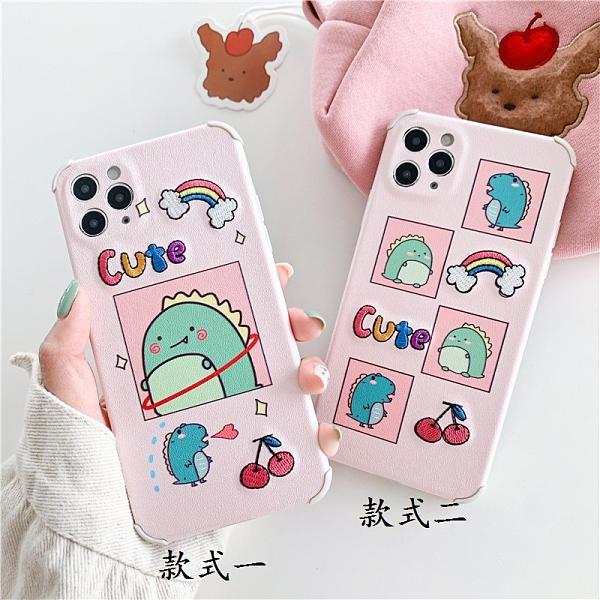 日韓IPhone 12手機殼 少女iPhone12 Pro Max保護殼 卡通彩虹蘋果12 Pro手機套 時尚可愛蘋果12 mini保護套