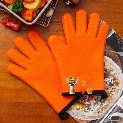 隔熱手套 硅膠防燙隔熱手套烤箱微波爐手套耐高溫加厚廚房烘焙家用防熱五指