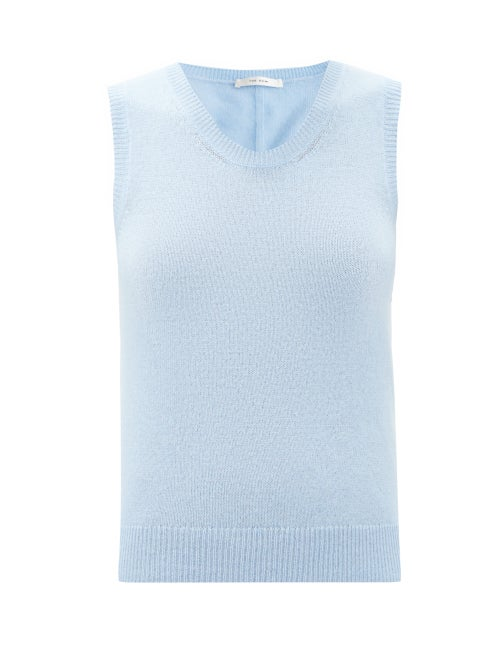 The Row - Amalia Scoop-neck Cashmere Tank Top - Womens - Light Blue