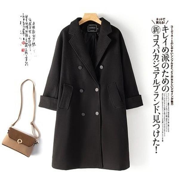 外套大衣開衫中大尺碼M-4XL胖MM大碼女裝純色中長款毛呢大衣韓版減齡外套1F164-3598.韓衣裳