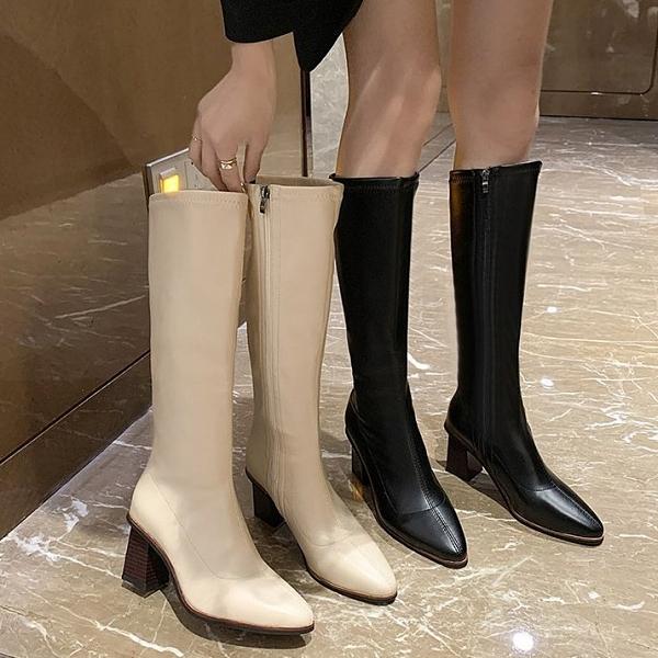 馬靴.韓國皮革直筒側拉鍊木紋高跟尖頭長靴.白鳥麗子