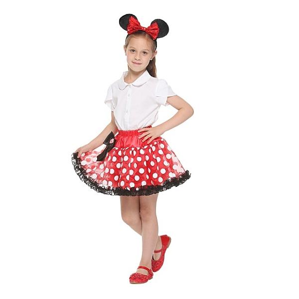 【萬聖節首選】迪士尼裝扮組 米妮 圓點短裙 蕾絲裙 大蝴蝶結髮箍 (不含上衣) 【鯊玩具Toy Shark】