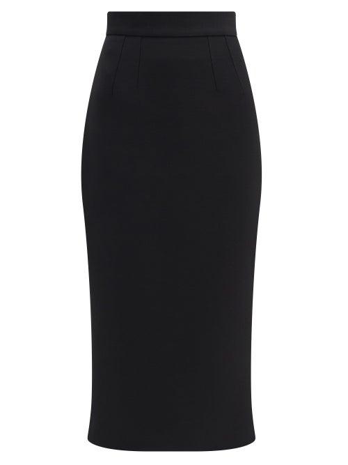 Dolce & Gabbana - High-rise Wool-crepe Midi Skirt - Womens - Black