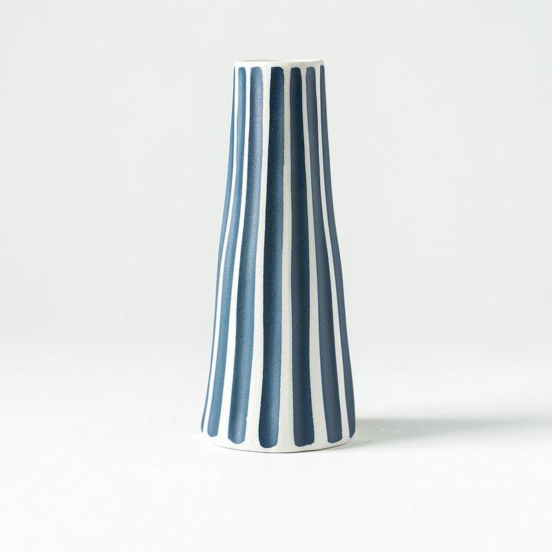 花器/花瓶  藍寬條紋長瓶 ( 15.5 cm )