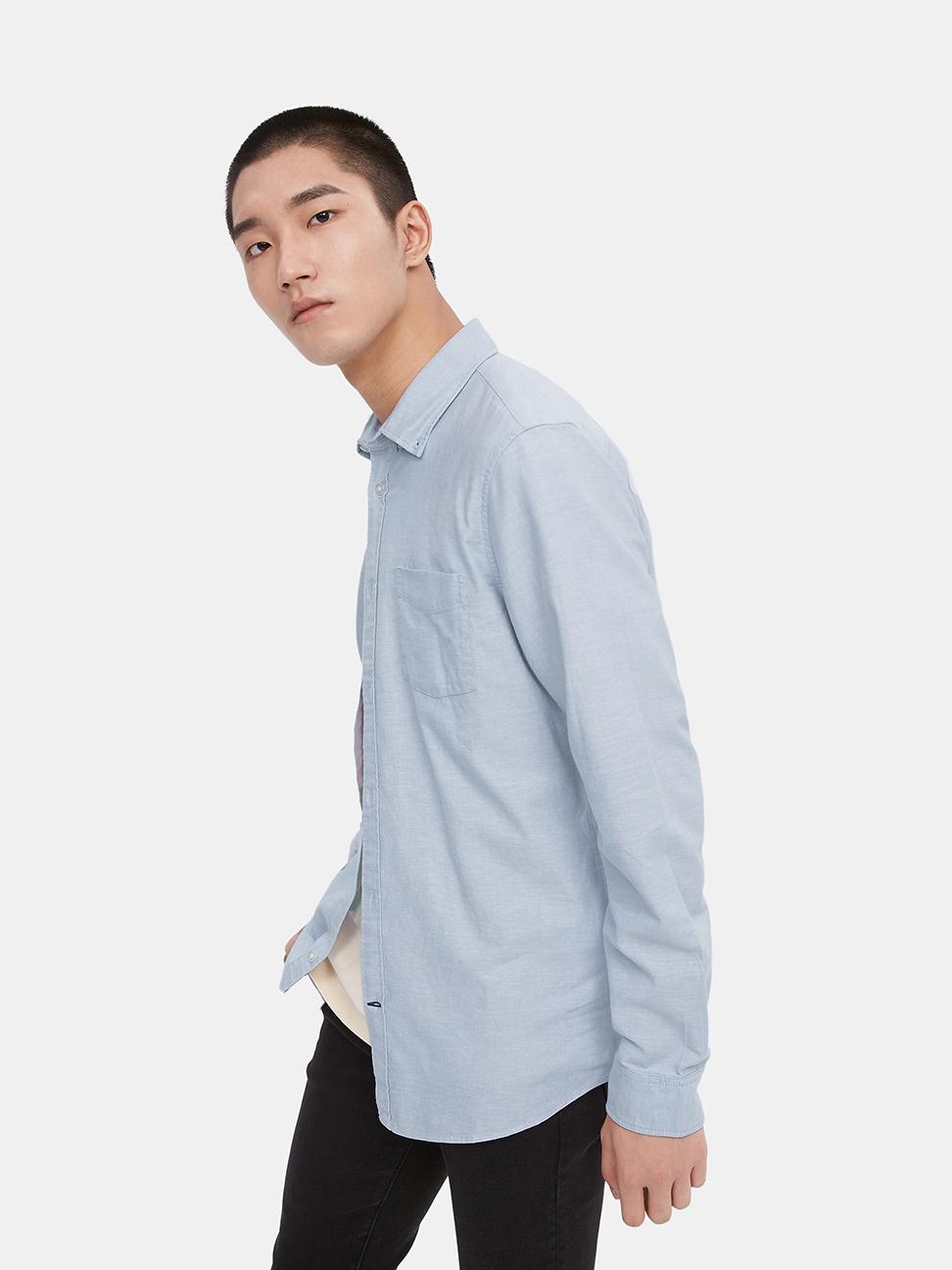 男裝 簡約風格修身款長袖襯衫