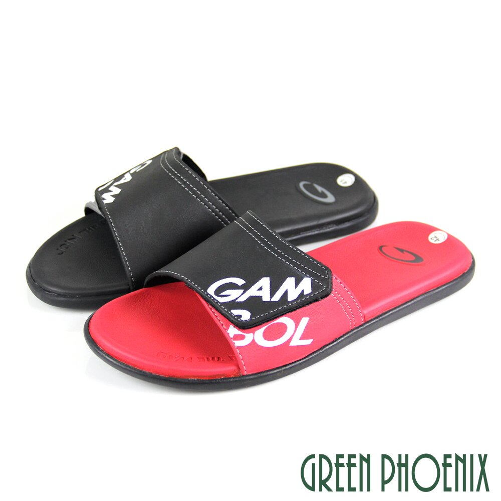 【GREEN PHOENIX】撞色字母粘黏式平底拖鞋(男鞋)P-13028