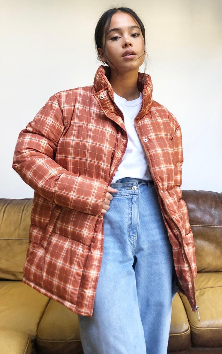 Rust Nylon Checked Oversized Puffer Jacket