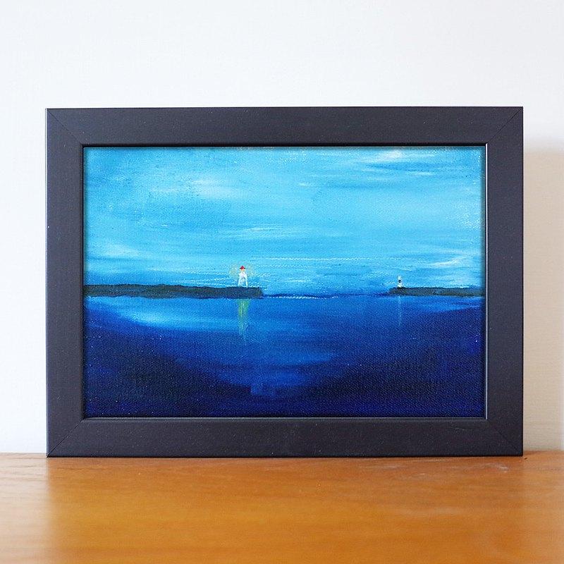 風景#1 防波堤 油畫 F 1號 含框尺寸約26*19cm