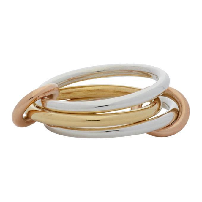 Spinelli Kilcollin 银色 and 金色 Solarium Three-Link 戒指