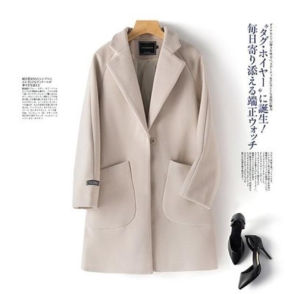 韓版外套大衣開衫中大尺碼M-4XL胖MM減齡上衣毛呢外套氣質呢子大衣1F164-0906.韓衣裳