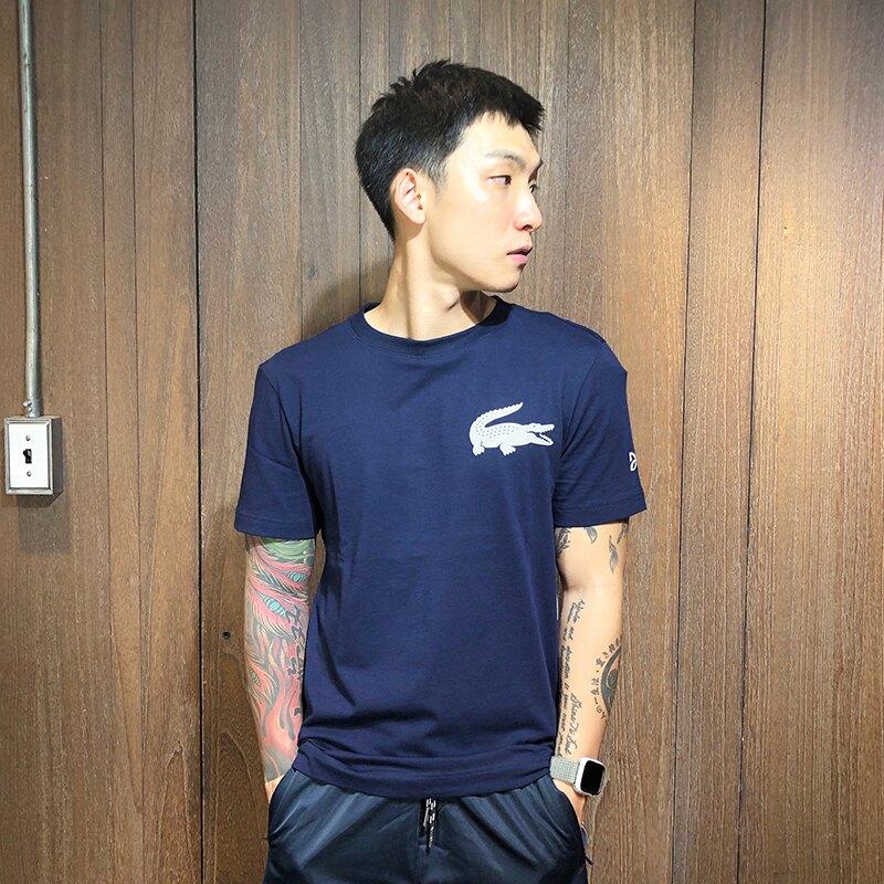 美國百分百【全新真品】Lacoste 鱷魚 T恤 T-SHIRT 短袖 短T 上衣 logo 深藍 大尺碼 BA30