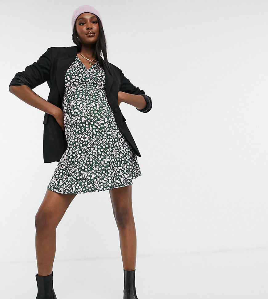 ASOS DESIGN Maternity mini tea dress with twist front in forest green and pink floral