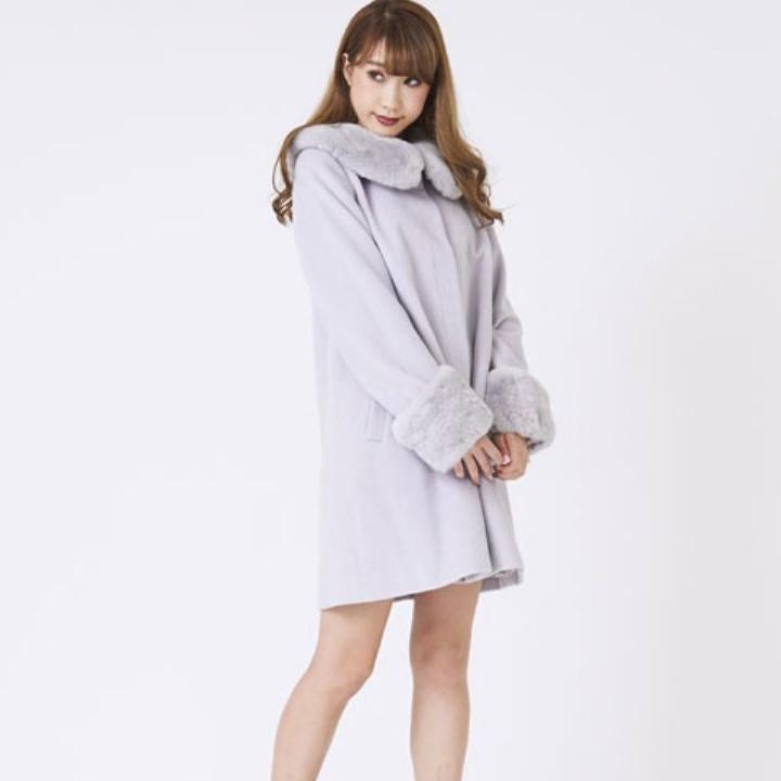 titty&Co [Y8384-001] 兔毛領大衣外套(2色)