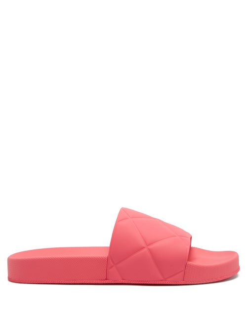 Bottega Veneta - The Slider Intrecciato-debossed Rubber Slides - Womens - Fuchsia