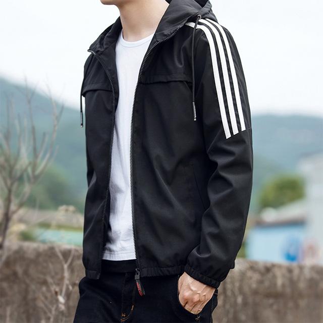 [現貨] 運動側邊三線抽繩立領風衣外套三線條紋運動外套 超挺面料修身夾克防風外套【QZZZ1088】