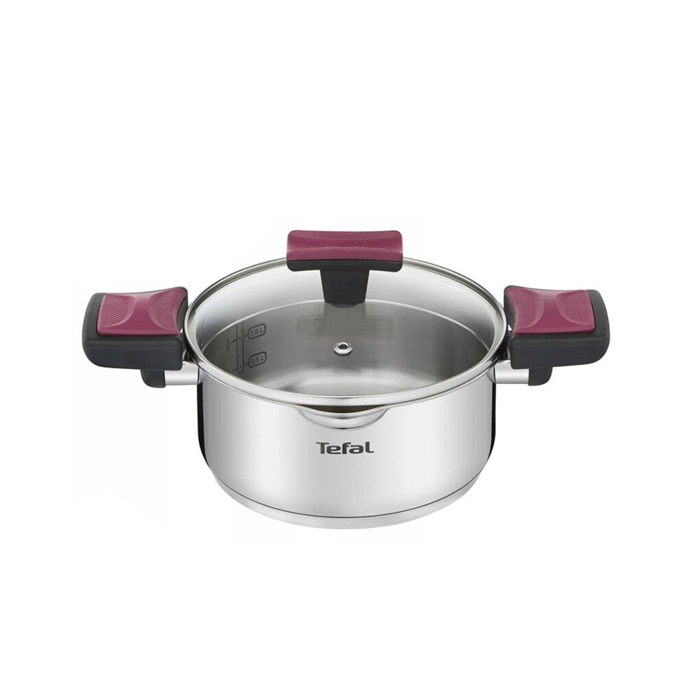 Tefal法國特福 香頌不鏽鋼系列聰明瀝水20CM雙耳湯鍋(加蓋)