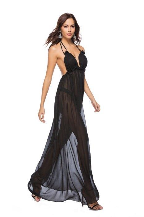 歐美新款時尚女裝 性感薄紗透明綁帶露背泳裝罩衫外搭連身長裙洋裝 2色 L2609