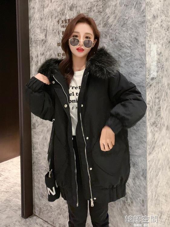 黑色反季節女清倉小個子中長款羽絨服2020年新款派克棉服冬季外套 韓語空間
