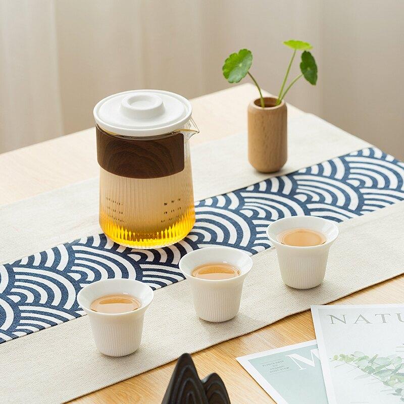 快客杯防燙陶瓷一壺三杯玻璃便攜式旅行功夫茶具套裝簡約