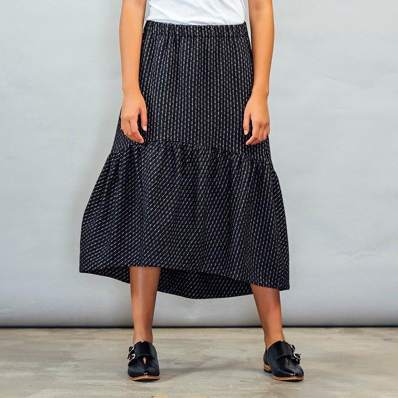 深藍條紋毛呢蓬蓬裙 - 裙長可免費修改調整