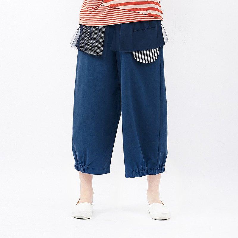 à la sha 點點條紋配網紗低檔寬褲