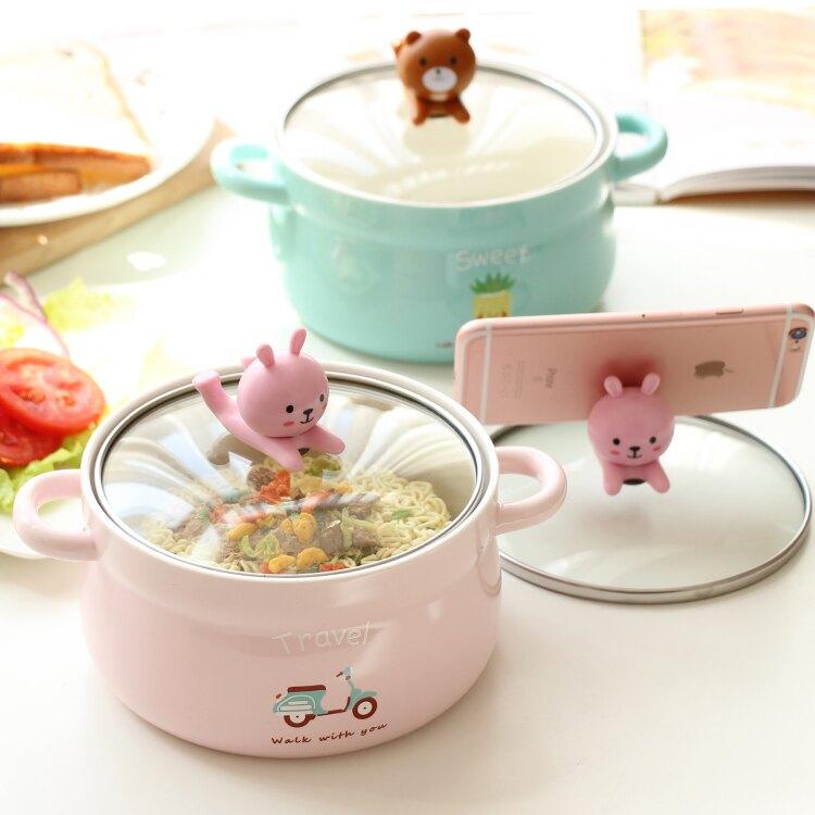 夯貨折扣!可愛大號泡面碗 日式創意帶蓋雙耳方便面杯學生宿舍陶瓷飯碗湯碗