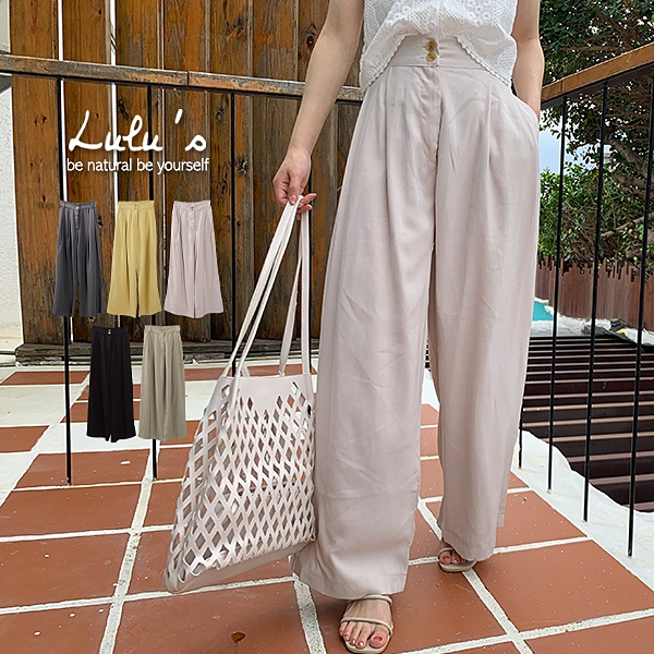 LULUS-Y雙釦質感布料直筒寬褲-5色 【04190113】