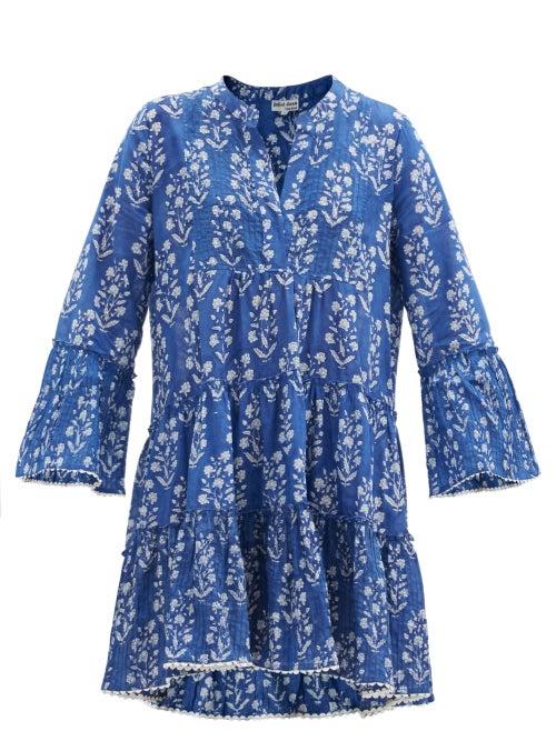 Juliet Dunn - Floral Block-print Cotton Mini Dress - Womens - Blue White