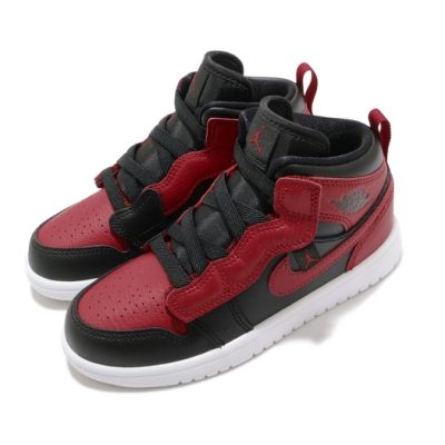 Nike 休閒鞋 Jordan 1 Mid ALT 運動 童鞋 經典款 喬丹 魔鬼氈 皮革 簡約 中童 黑 紅 AR6351074