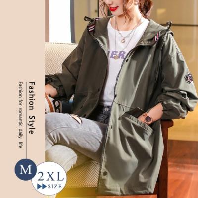 悠美學-文青風中大碼連帽縮口造型外套-2色(M-2XL)