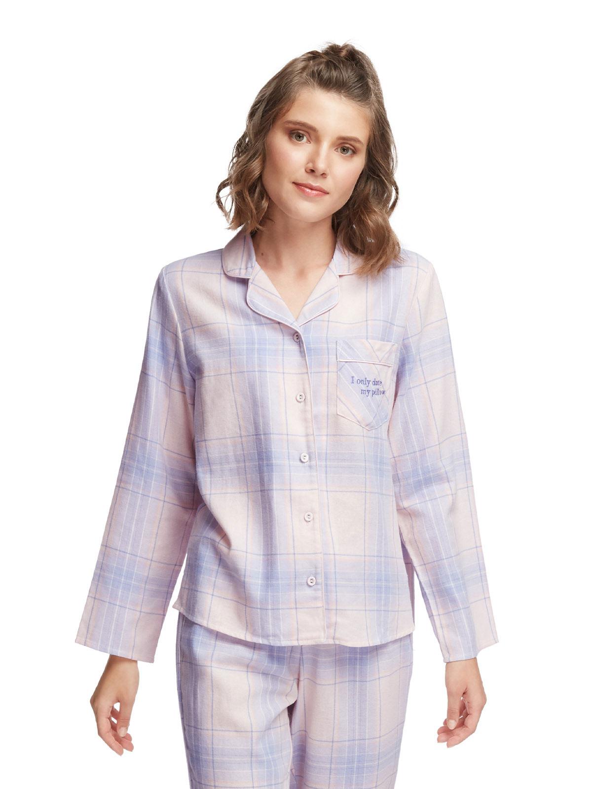 英式法蘭絨格紋長袖睡衣