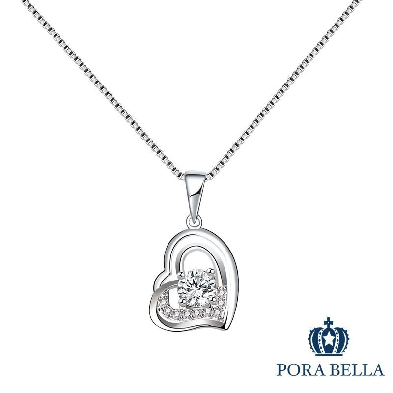 Porabella925純銀鋯石項鍊 愛心幾何 純銀項鍊 Necklace VIP尊榮包裝 1件免運