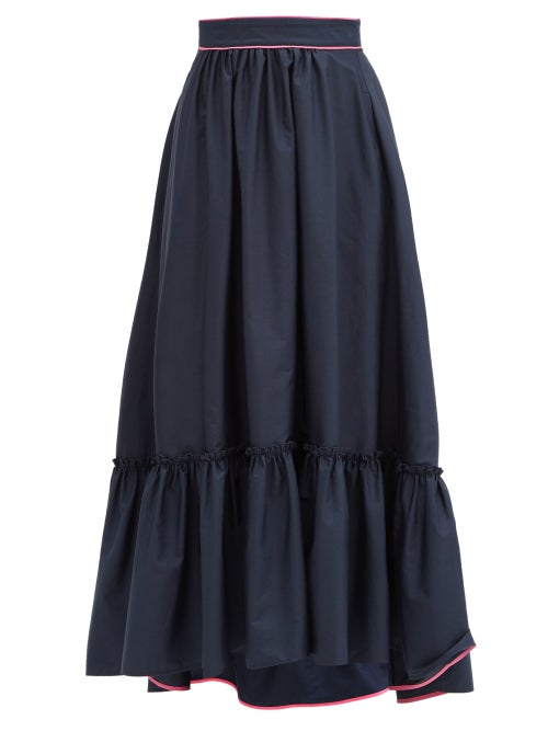 Roksanda - Mariana Ruffled-hem Cotton-poplin Skirt - Womens - Navy