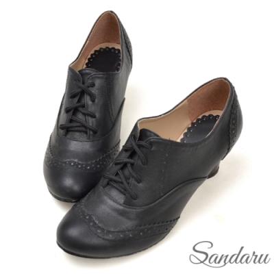 山打努SANDARU-復古刷色雕花綁帶牛津鞋-黑