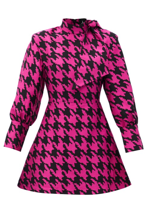 Elzinga - Neck-tie Houndstooth-jacquard Mini Dress - Womens - Black Pink