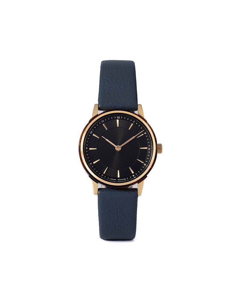 Petite LW-074 金色殼黑色面海軍藍色皮錶帶
