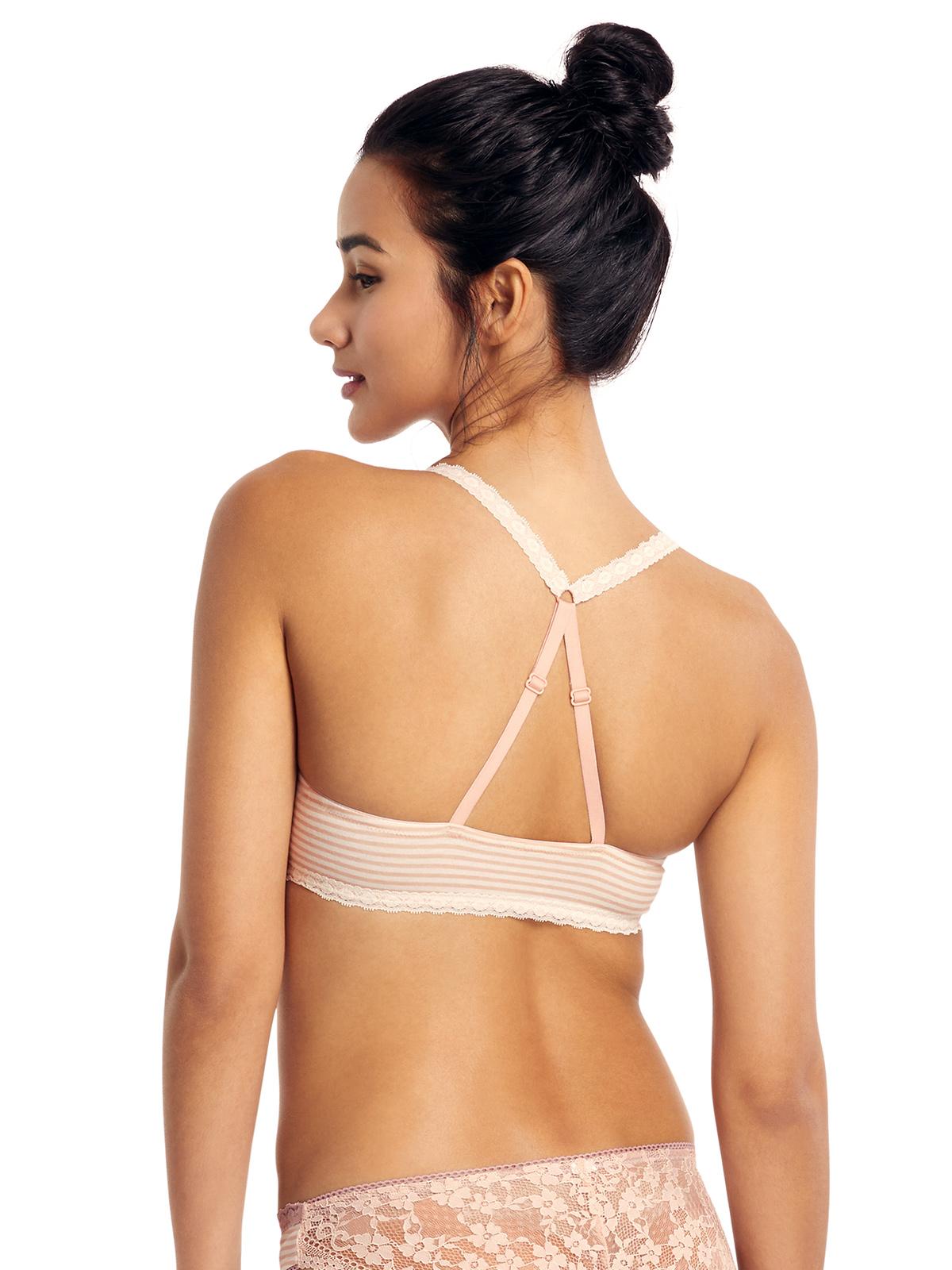 間條交叉肩帶中厚胸墊3/4罩杯胸罩