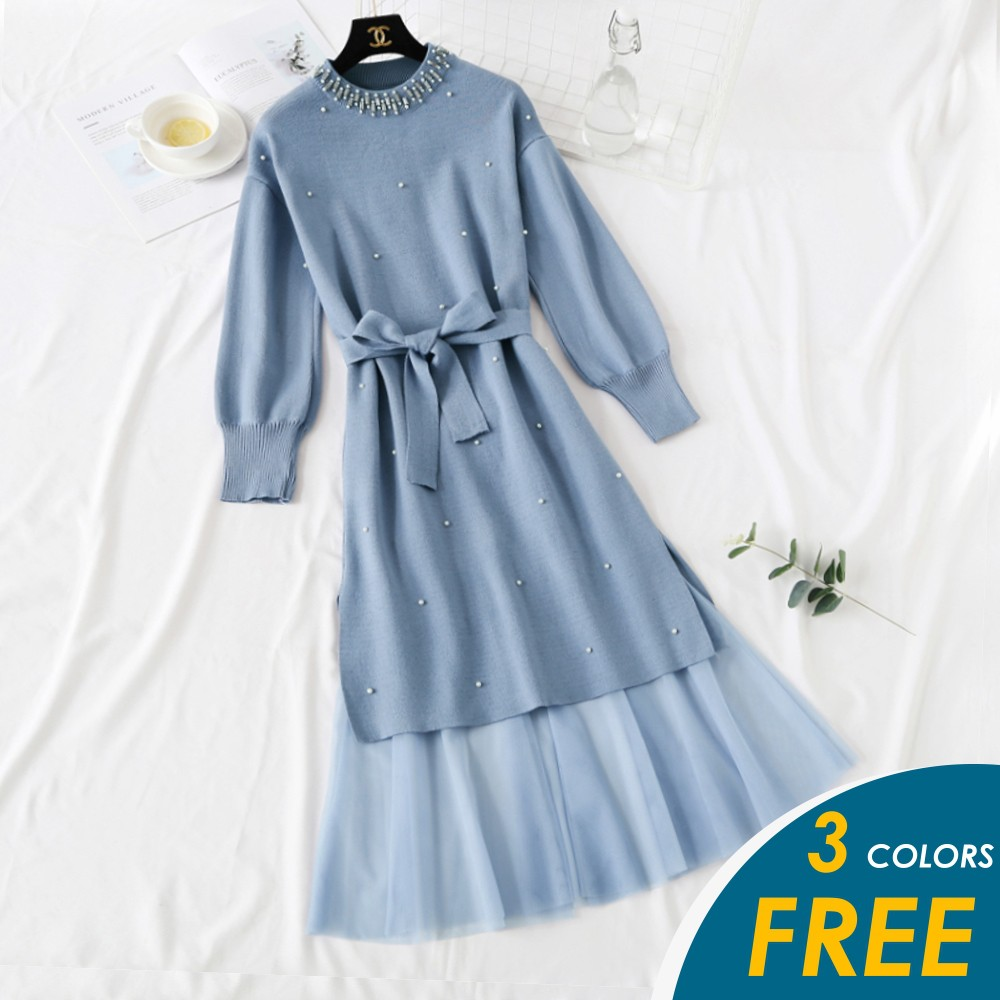 【預購】韓系浪漫釘珠長版針織網紗裙套裝組-均碼-S-L皆可穿【俏可】