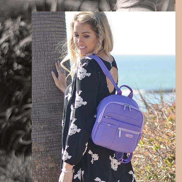 BESIDE-U 官方直營 FOREVER YOUNG系列甜蜜多口袋後背包 - 富裕紫