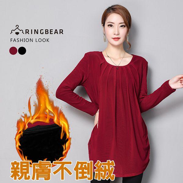 長袖上衣--優雅氣質胸前細褶側邊抓皺不倒絨內裡假兩件上衣(黑.紅L-3L)-X299眼圈熊中大尺碼