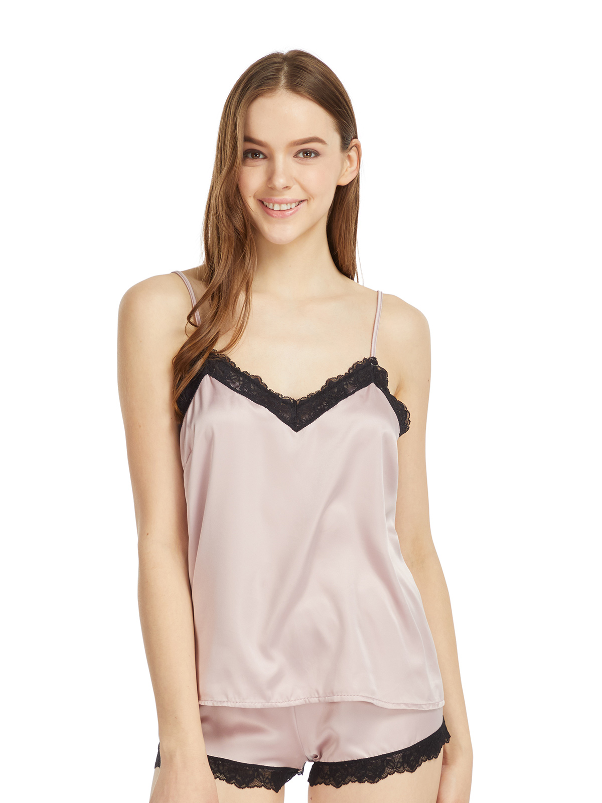 蕾絲邊緞面吊帶睡衣
