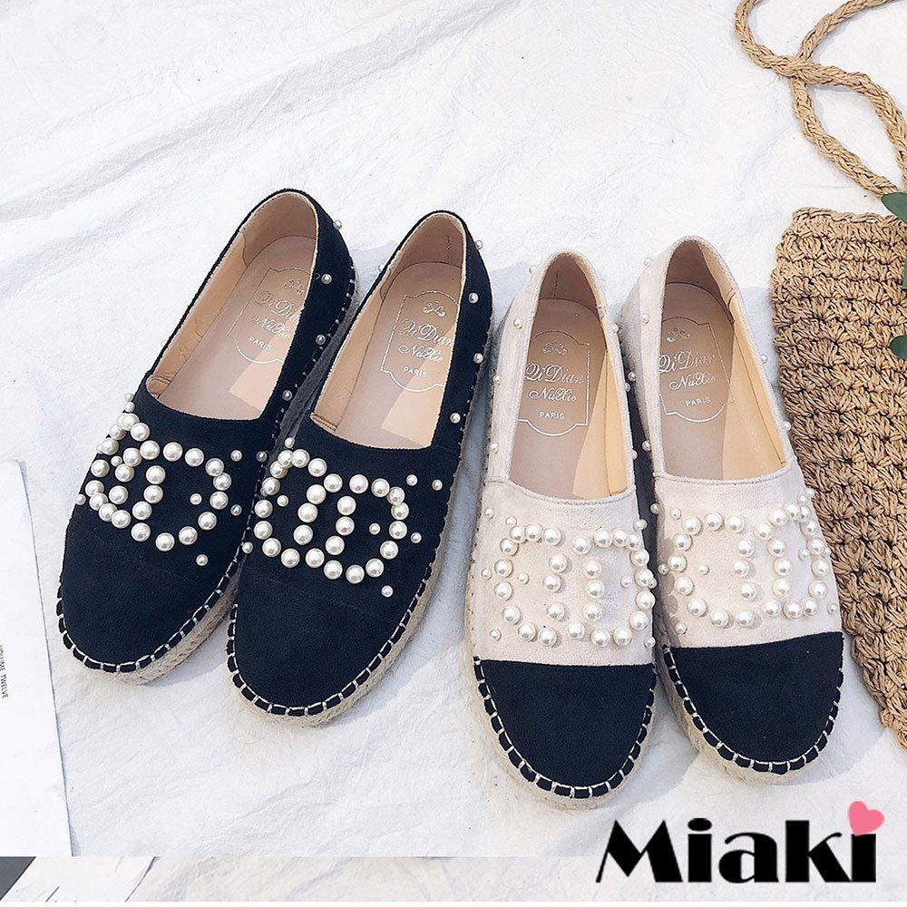 【Miaki】樂福鞋珠面拼接平底休閒包鞋 (現貨+預購)