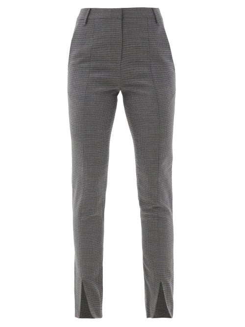 Tibi - Auguste Slit-cuff Checked-twill Suit Trousers - Womens - Grey
