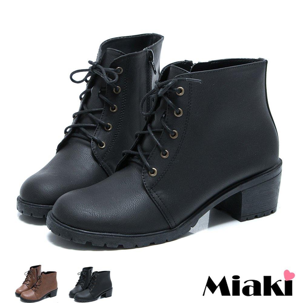 【Miaki】MIT 英倫學院綁帶低跟短靴踝靴牛津鞋 (現貨+預購)