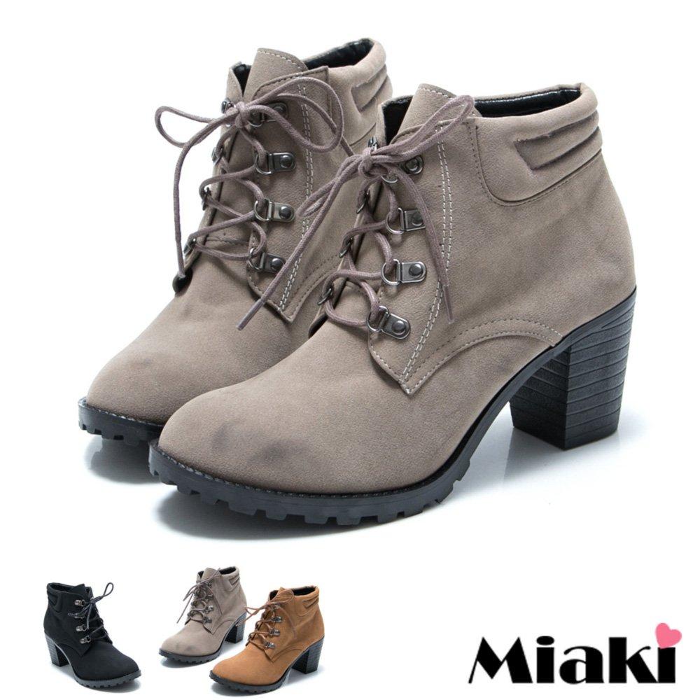 【Miaki】MIT 暢銷韓版圓頭中跟綁帶短靴踝靴牛津鞋 (現貨+預購)