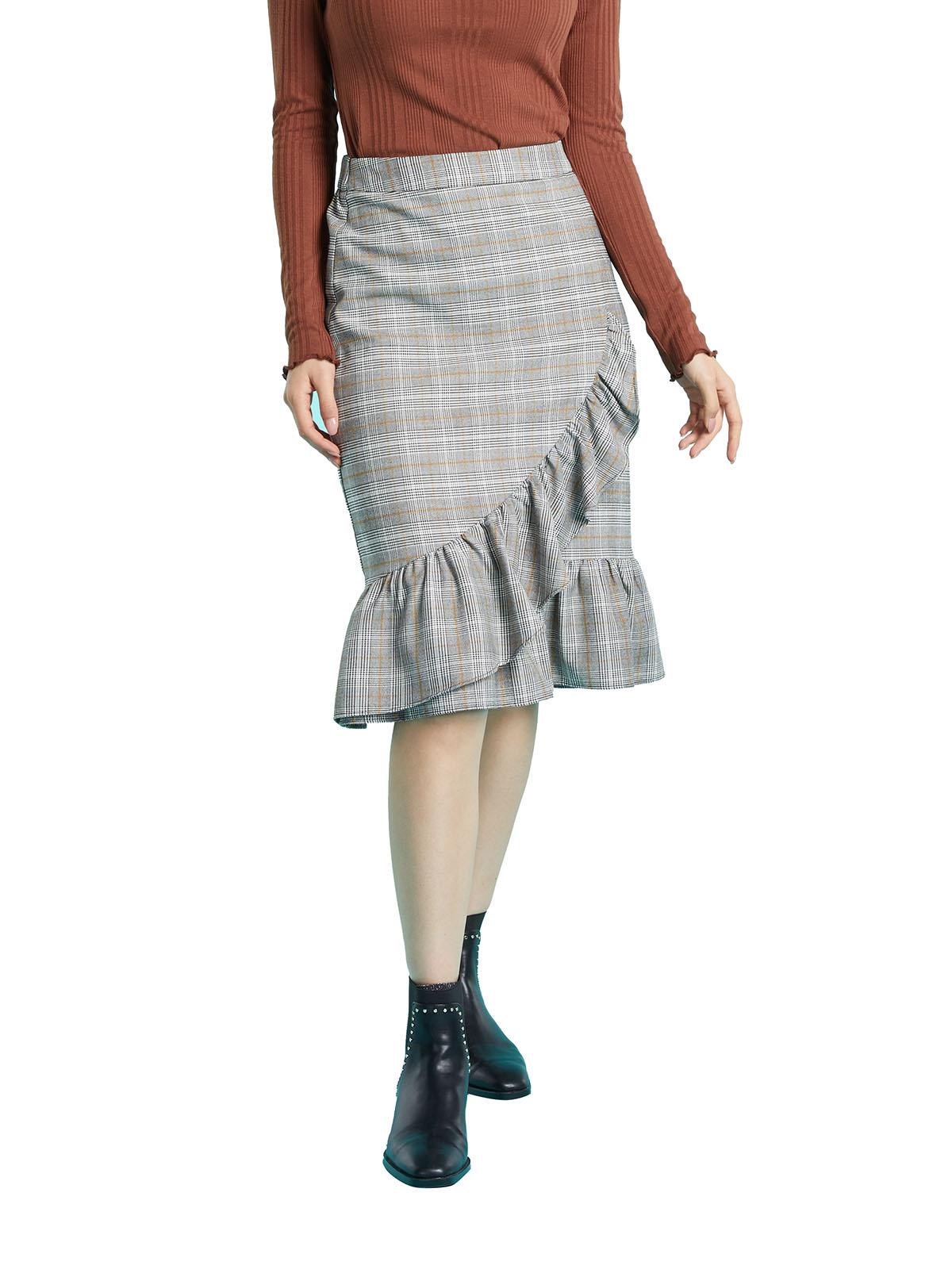 格子百褶半身裙