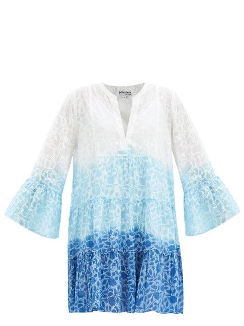Juliet Dunn - Shadow Flower-print Cotton-voile Mini Dress - Womens - Blue Print