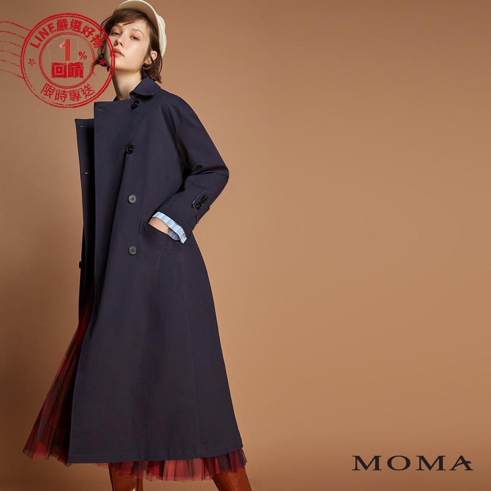 MOMA(92J022)拼接條紋長版風衣外套