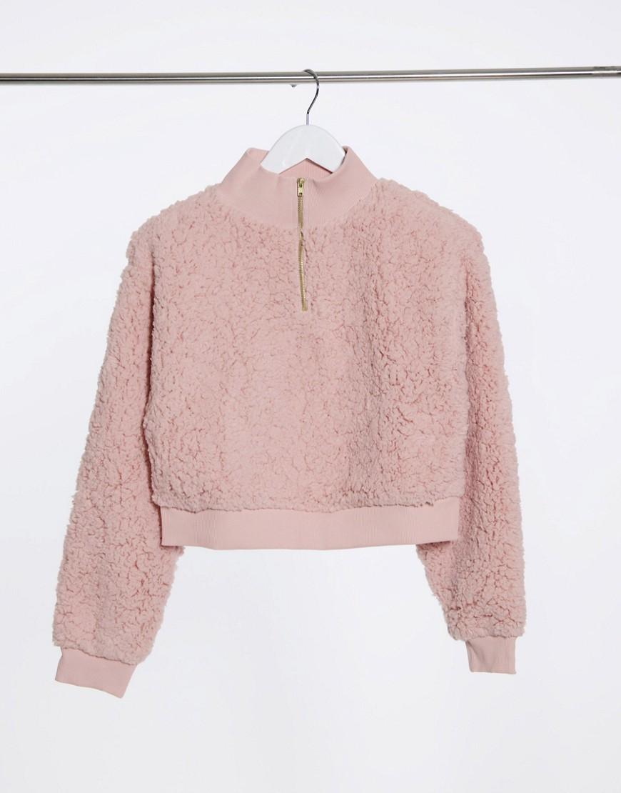 Miss Selfridge teddy sweatshirt in blush-Neutral